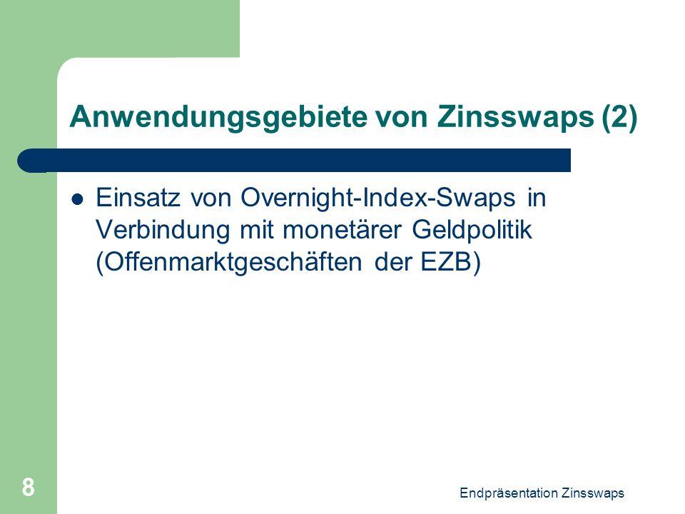 Endpräsentation Zinsswaps 8 Anwendungsgebiete von Zinsswaps (2) Einsatz von Overnight-Index-Swaps in Verbindung mit monetärer Geldpolitik (Offenmarktg