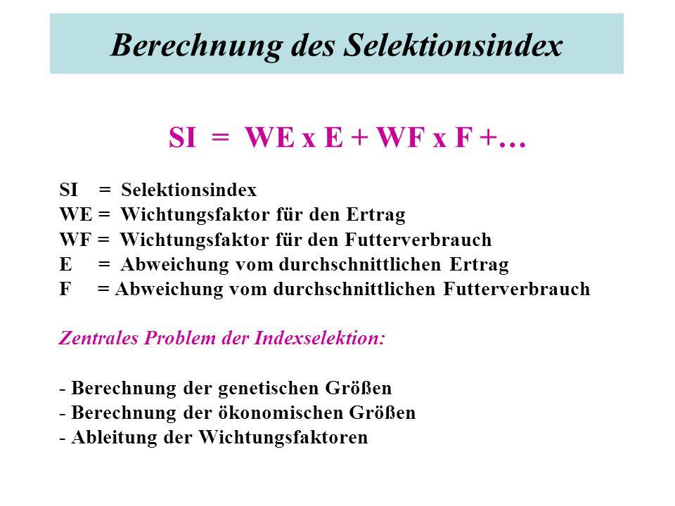 Berechnung des Selektionsindex SI = WE x E + WF x F +… SI = Selektionsindex WE = Wichtungsfaktor für den Ertrag WF = Wichtungsfaktor für den Futterverbrauch E = Abweichung vom durchschnittlichen Ertrag F = Abweichung vom durchschnittlichen Futterverbrauch Zentrales Problem der Indexselektion: - Berechnung der genetischen Größen - Berechnung der ökonomischen Größen - Ableitung der Wichtungsfaktoren