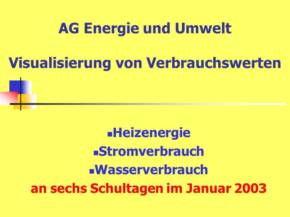 AG Energie und Umwelt Visualisierung von Verbrauchswerten Heizenergie Stromverbrauch Wasserverbrauch an sechs Schultagen im Januar 2003