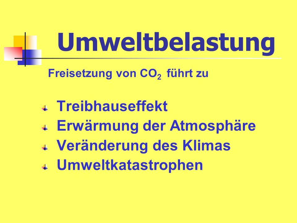 Umweltbelastung Freisetzung von CO 2 führt zu Treibhauseffekt Erwärmung der Atmosphäre Veränderung des Klimas Umweltkatastrophen