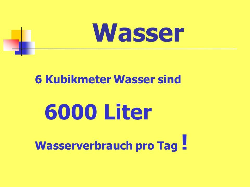 6 Kubikmeter Wasser sind 6000 Liter Wasserverbrauch pro Tag !
