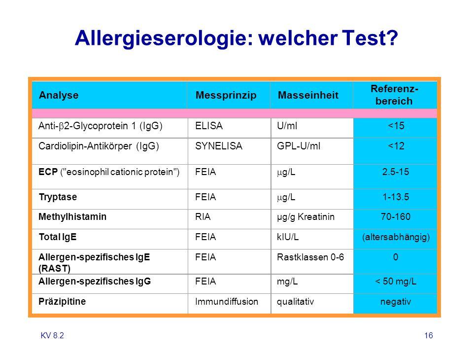 KV 8.216 Allergieserologie: welcher Test? Anti-  2-Glycoprotein 1 (IgG) ELISAU/ml<15 Cardiolipin-Antikörper (IgG)SYNELISAGPL-U/ml<12 ECP (