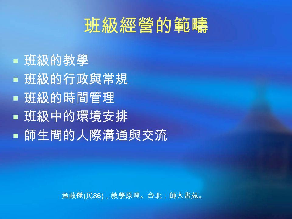 班級經營的範疇  班級的教學  班級的行政與常規  班級的時間管理  班級中的環境安排  師生間的人際溝通與交流 黃政傑 ( 民 86) ,教學原理。台北:師大書苑。