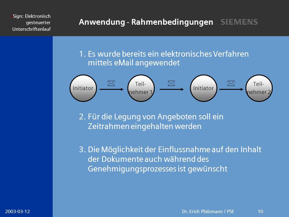 s Dr. Erich Pfalzmann / PSE eSign: Elektronisch gesteuerter Unterschriftenlauf 2003-03-1210 1. Es wurde bereits ein elektronisches Verfahren mittels e