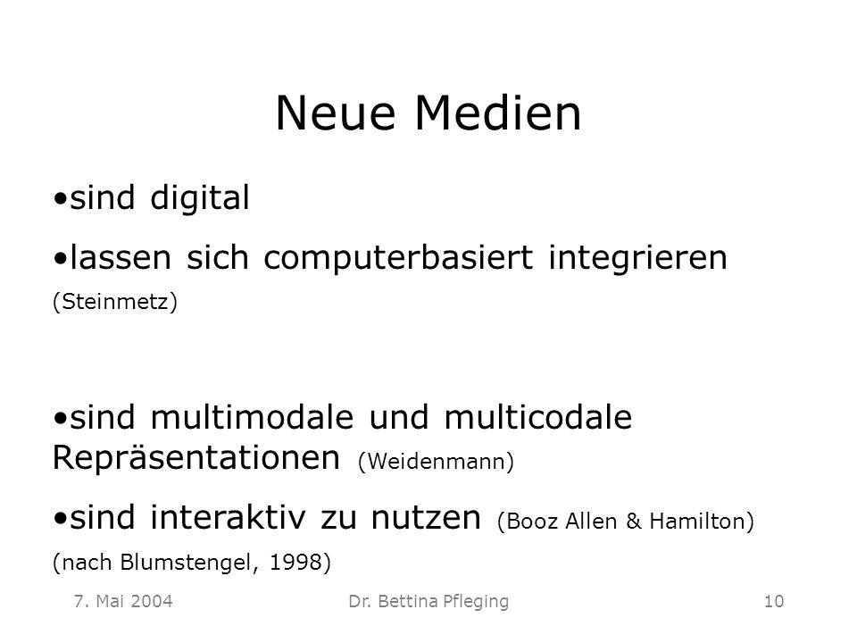 7. Mai 2004Dr. Bettina Pfleging10 Neue Medien sind digital lassen sich computerbasiert integrieren (Steinmetz) sind multimodale und multicodale Repräs