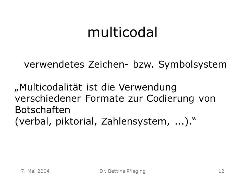 """7. Mai 2004Dr. Bettina Pfleging12 multicodal verwendetes Zeichen- bzw. Symbolsystem """"Multicodalität ist die Verwendung verschiedener Formate zur Codie"""