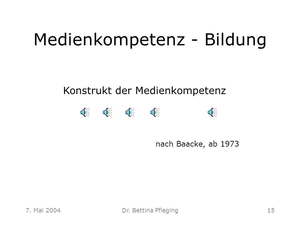 7. Mai 2004Dr. Bettina Pfleging15 Medienkompetenz - Bildung Konstrukt der Medienkompetenz nach Baacke, ab 1973