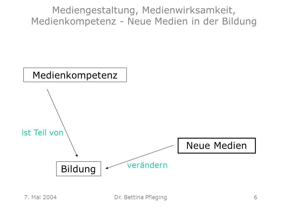7. Mai 2004Dr. Bettina Pfleging6 Medienkompetenz Neue Medien Bildung ist Teil von verändern Mediengestaltung, Medienwirksamkeit, Medienkompetenz - Neu