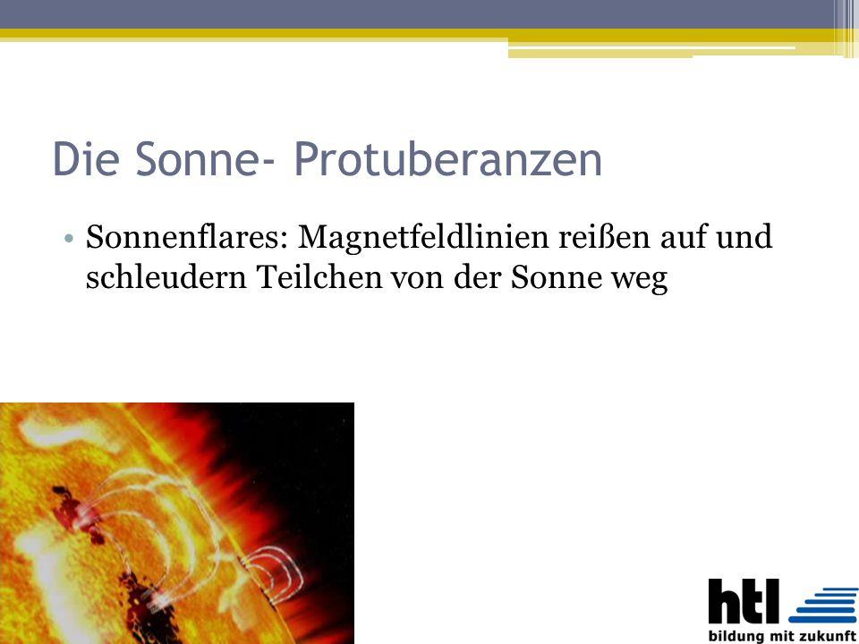 Die Sonne- Protuberanzen Sonnenflares: Magnetfeldlinien reißen auf und schleudern Teilchen von der Sonne weg