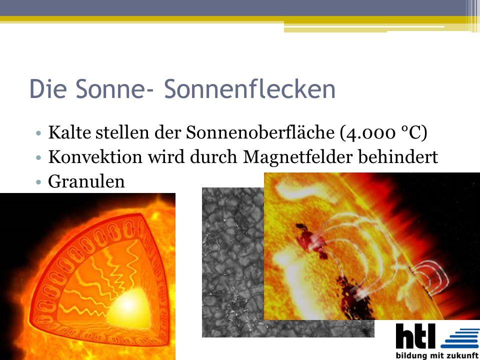 Die Sonne- Sonnenflecken Kalte stellen der Sonnenoberfläche (4.000 °C) Konvektion wird durch Magnetfelder behindert Granulen