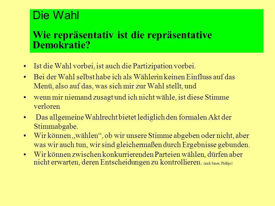 Die Wahl Wie repräsentativ ist die repräsentative Demokratie.