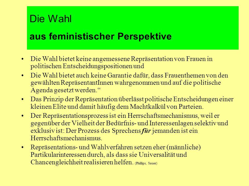 Die Wahl aus feministischer Perspektive Die Wahl bietet keine angemessene Repräsentation von Frauen in politischen Entscheidungspositionen und Die Wahl bietet auch keine Garantie dafür, dass Frauenthemen von den gewählten RepräsentantInnen wahrgenommen und auf die politische Agenda gesetzt werden. Das Prinzip der Repräsentation überlässt politische Entscheidungen einer kleinen Elite und damit häufig dem Machtkalkül von Parteien.