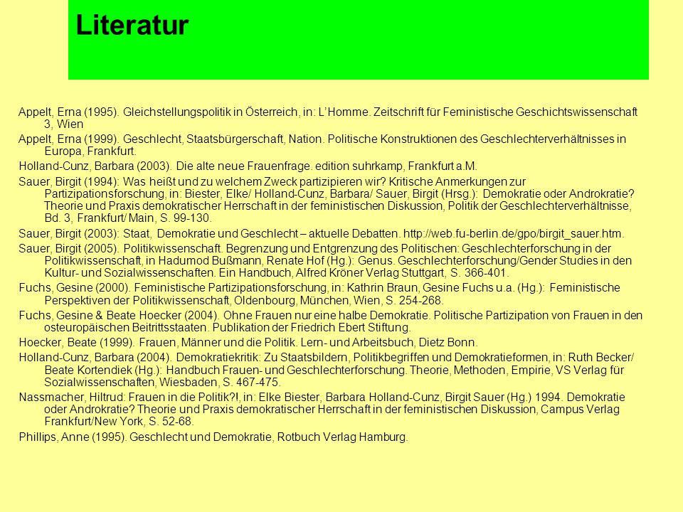 Literatur Appelt, Erna (1995). Gleichstellungspolitik in Österreich, in: L'Homme.