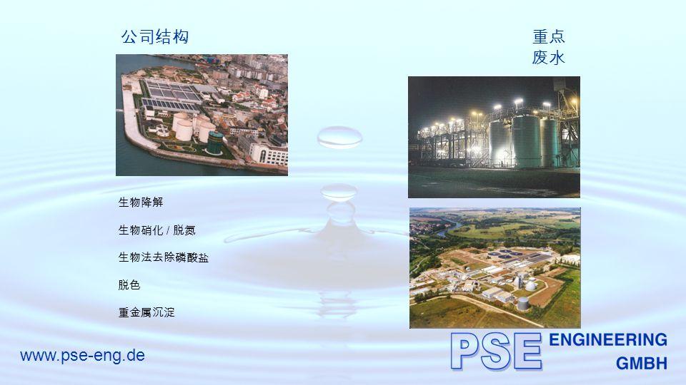www.pse-eng.de 公司结构重点 废水 生物降解 生物硝化 / 脱氮 生物法去除磷酸盐 脱色 重金属沉淀