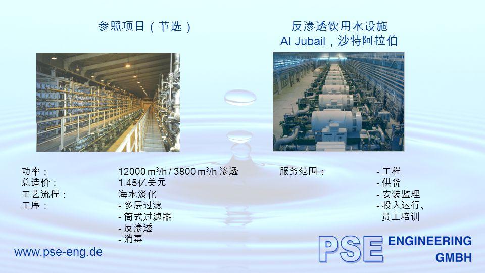 www.pse-eng.de 参照项目(节选)反渗透饮用水设施 Al Jubail ,沙特阿拉伯 功率: 12000 m 3 /h / 3800 m 3 /h 渗透 总造价: 1.45 亿美元 工艺流程:海水淡化 工序: - 多层过滤 - 筒式过滤器 - 反渗透 - 消毒 服务范围: - 工程 - 供货 - 安装监理 - 投入运行、 员工培训
