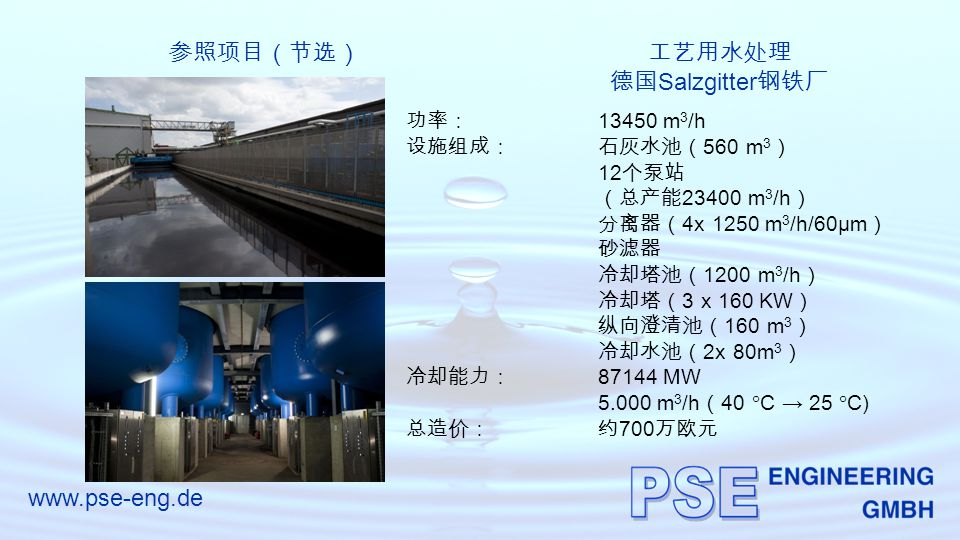 www.pse-eng.de 参照项目(节选)工艺用水处理 德国 Salzgitter 钢铁厂 功率: 13450 m 3 /h 设施组成:石灰水池( 560 m 3 ) 12 个泵站 (总产能 23400 m 3 /h ) 分离器( 4x 1250 m 3 /h/60µm ) 砂滤器 冷却塔池( 1200 m 3 /h ) 冷却塔( 3 x 160 KW ) 纵向澄清池( 160 m 3 ) 冷却水池( 2x 80m 3 ) 冷却能力: 87144 MW 5.000 m 3 /h ( 40  C → 25  C) 总造价:约 700 万欧元