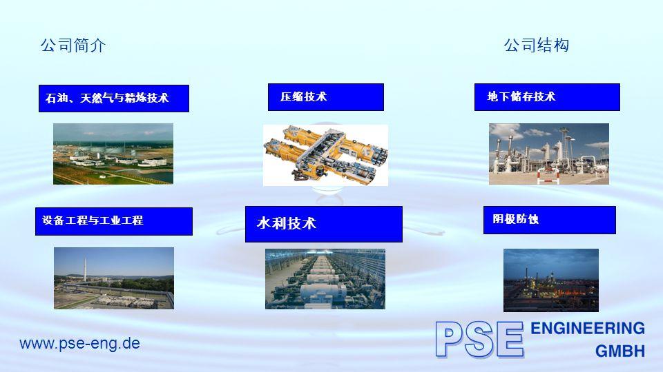 www.pse-eng.de 公司简介公司结构 石油、天然气与精炼技术 压缩技术 水利技术 地下储存技术 设备工程与工业工程 阴极防蚀