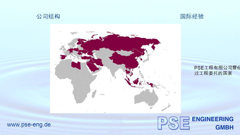 www.pse-eng.de 公司结构国际经验 PSE 工程有限公司曾经完成 过工程委托的国家