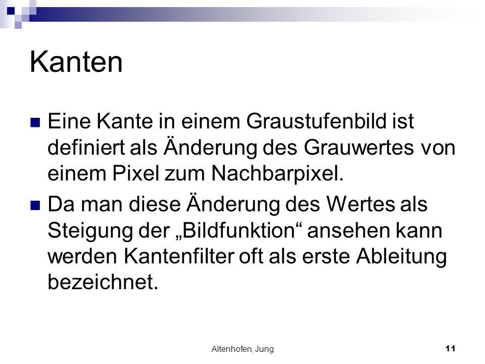 Altenhofen, Jung11 Kanten Eine Kante in einem Graustufenbild ist definiert als Änderung des Grauwertes von einem Pixel zum Nachbarpixel. Da man diese