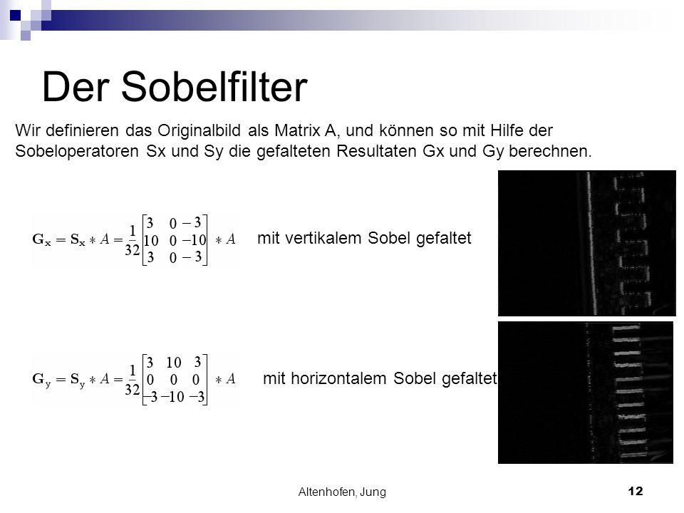 Altenhofen, Jung12 Der Sobelfilter Wir definieren das Originalbild als Matrix A, und können so mit Hilfe der Sobeloperatoren Sx und Sy die gefalteten