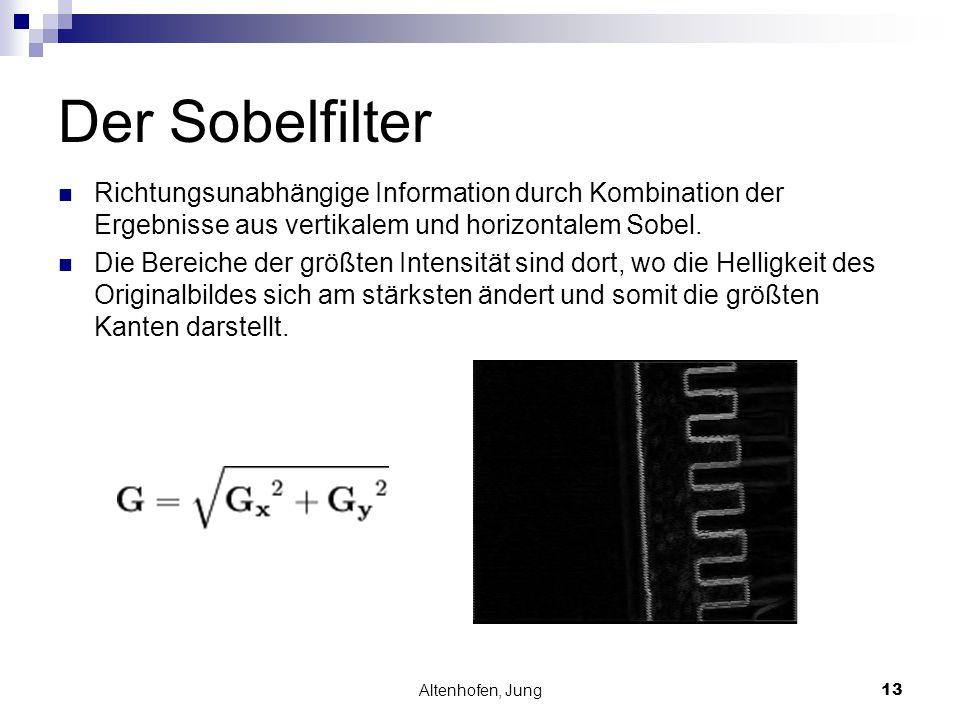 Altenhofen, Jung13 Der Sobelfilter Richtungsunabhängige Information durch Kombination der Ergebnisse aus vertikalem und horizontalem Sobel. Die Bereic
