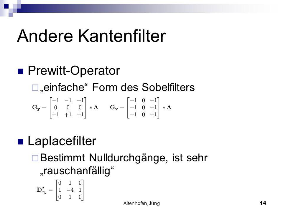 """Altenhofen, Jung14 Andere Kantenfilter Prewitt-Operator  """"einfache"""" Form des Sobelfilters Laplacefilter  Bestimmt Nulldurchgänge, ist sehr """"rauschan"""