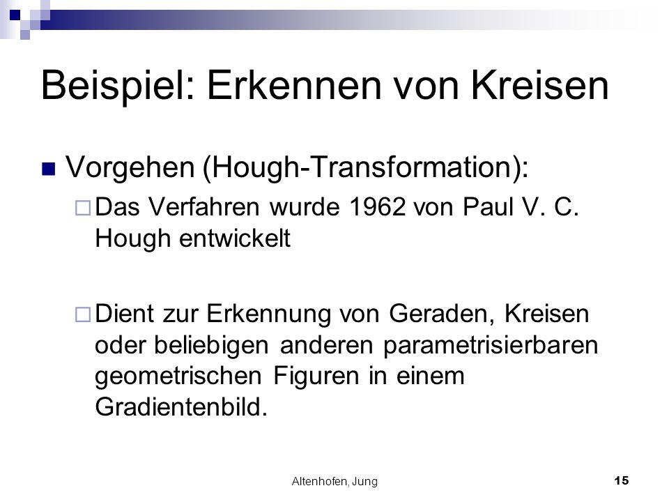 Altenhofen, Jung15 Beispiel: Erkennen von Kreisen Vorgehen (Hough-Transformation):  Das Verfahren wurde 1962 von Paul V. C. Hough entwickelt  Dient