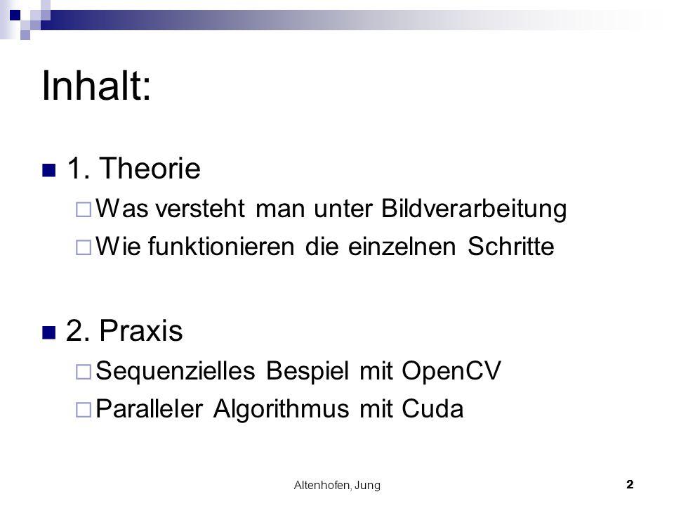 Altenhofen, Jung2 Inhalt: 1. Theorie  Was versteht man unter Bildverarbeitung  Wie funktionieren die einzelnen Schritte 2. Praxis  Sequenzielles Be
