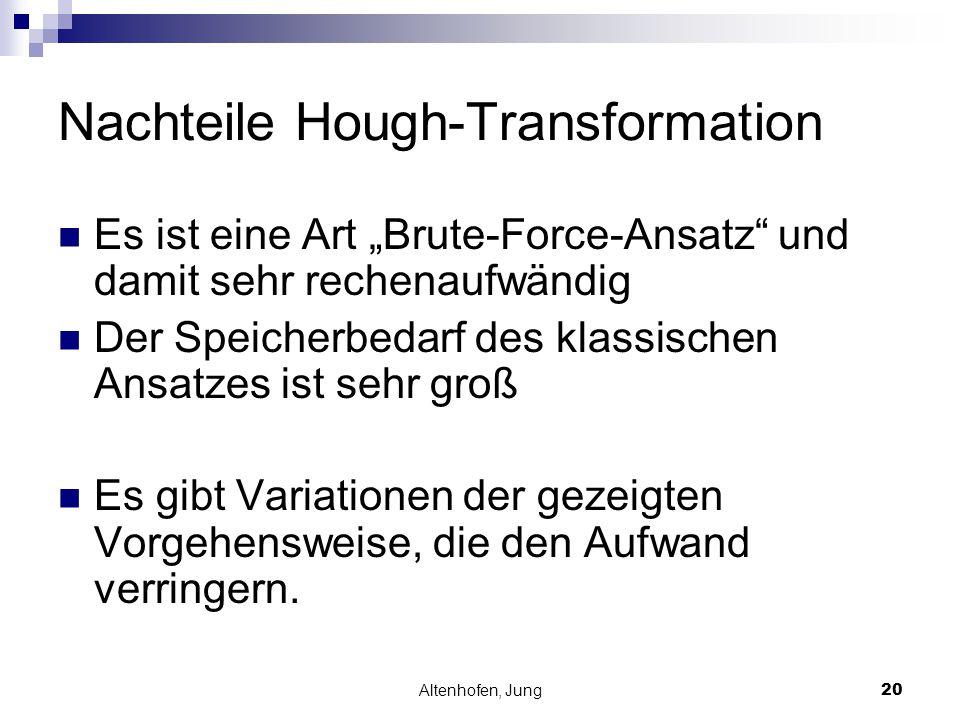 """Altenhofen, Jung20 Nachteile Hough-Transformation Es ist eine Art """"Brute-Force-Ansatz"""" und damit sehr rechenaufwändig Der Speicherbedarf des klassisch"""