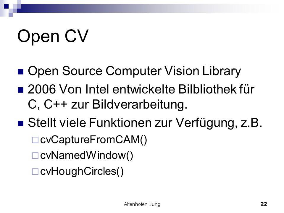 Altenhofen, Jung22 Open CV Open Source Computer Vision Library 2006 Von Intel entwickelte Bilbliothek für C, C++ zur Bildverarbeitung. Stellt viele Fu