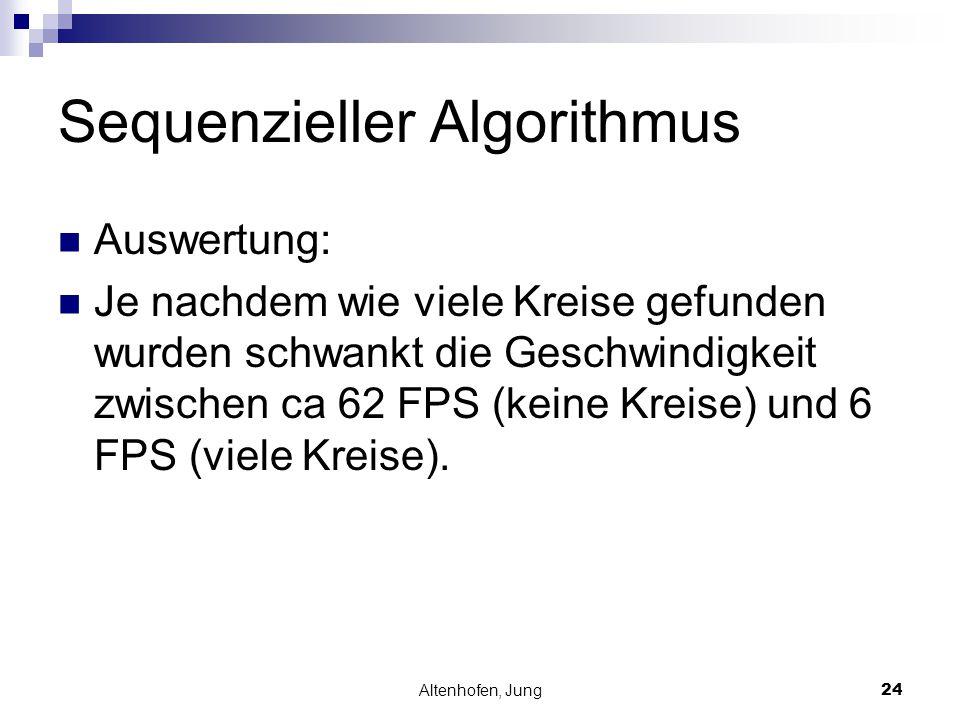 Altenhofen, Jung24 Sequenzieller Algorithmus Auswertung: Je nachdem wie viele Kreise gefunden wurden schwankt die Geschwindigkeit zwischen ca 62 FPS (