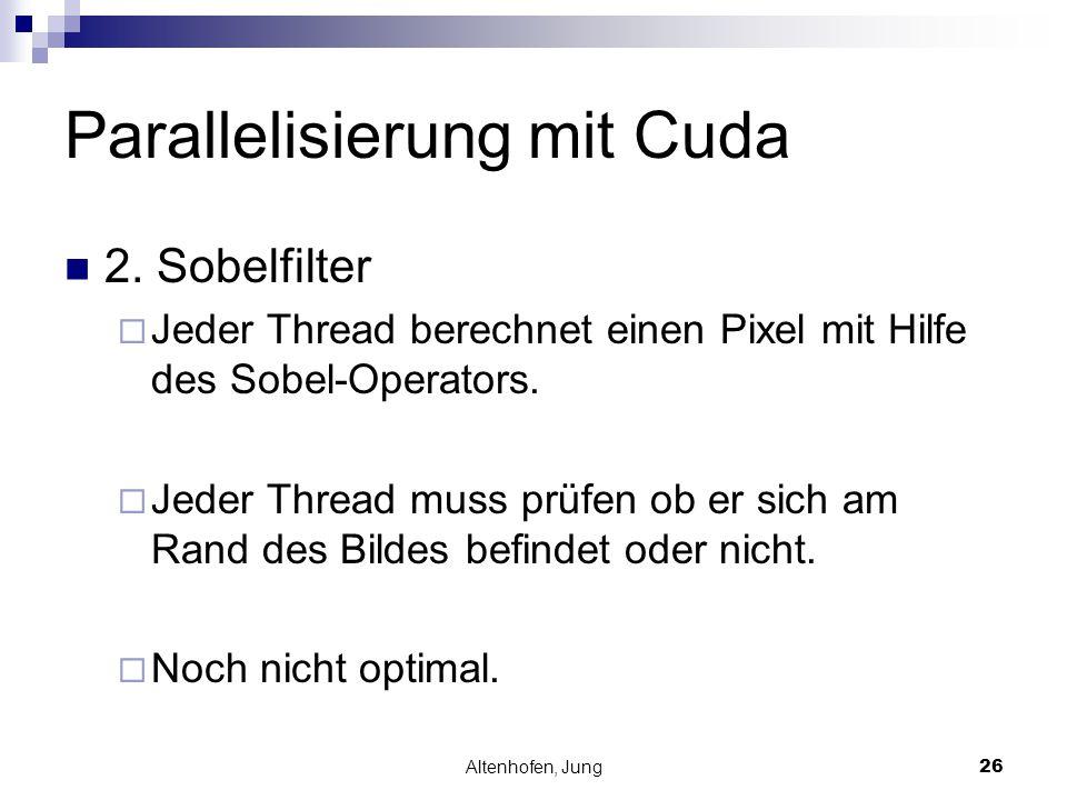Altenhofen, Jung26 Parallelisierung mit Cuda 2. Sobelfilter  Jeder Thread berechnet einen Pixel mit Hilfe des Sobel-Operators.  Jeder Thread muss pr