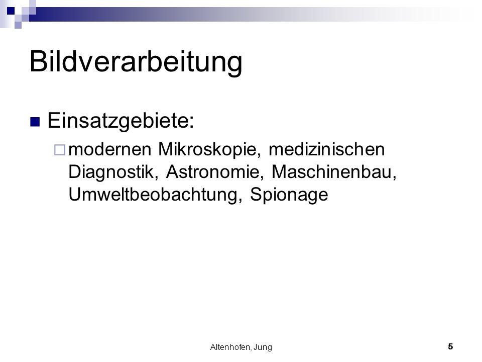 Altenhofen, Jung5 Bildverarbeitung Einsatzgebiete:  modernen Mikroskopie, medizinischen Diagnostik, Astronomie, Maschinenbau, Umweltbeobachtung, Spio