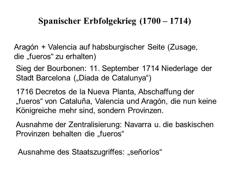 """Aragón + Valencia auf habsburgischer Seite (Zusage, die """"fueros"""" zu erhalten) Sieg der Bourbonen: 11. September 1714 Niederlage der Stadt Barcelona ("""""""