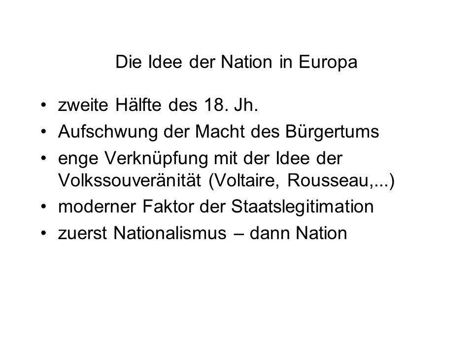Die Idee der Nation in Europa zweite Hälfte des 18. Jh. Aufschwung der Macht des Bürgertums enge Verknüpfung mit der Idee der Volkssouveränität (Volta