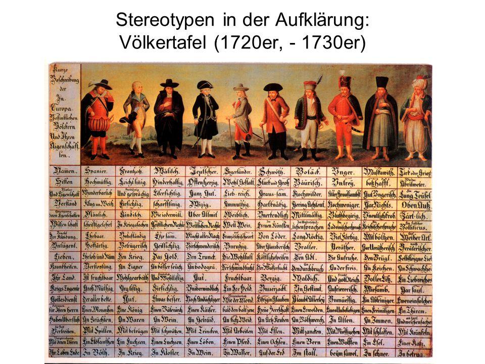 Stereotypen in der Aufklärung: Völkertafel (1720er, - 1730er)
