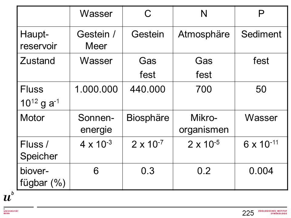 225 WasserCNP Haupt- reservoir Gestein / Meer GesteinAtmosphäreSediment ZustandWasserGas fest Gas fest Fluss 10 12 g a -1 1.000.000440.00070050 MotorS