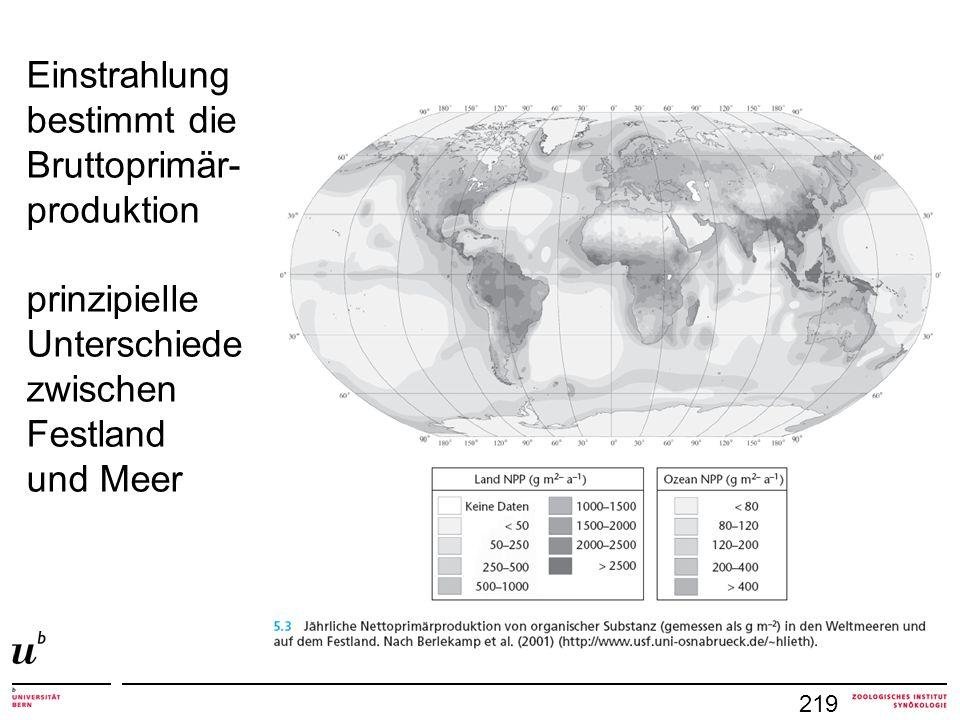 219 Einstrahlung bestimmt die Bruttoprimär- produktion prinzipielle Unterschiede zwischen Festland und Meer