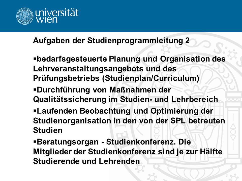 3 Aufgaben der Studienprogrammleitung 2  bedarfsgesteuerte Planung und Organisation des Lehrveranstaltungsangebots und des Prüfungsbetriebs (Studienp