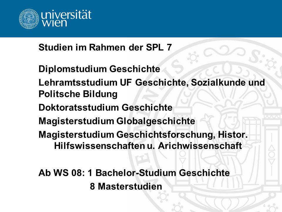 4 Studien im Rahmen der SPL 7 Diplomstudium Geschichte Lehramtsstudium UF Geschichte, Sozialkunde und Politsche Bildung Doktoratsstudium Geschichte Ma