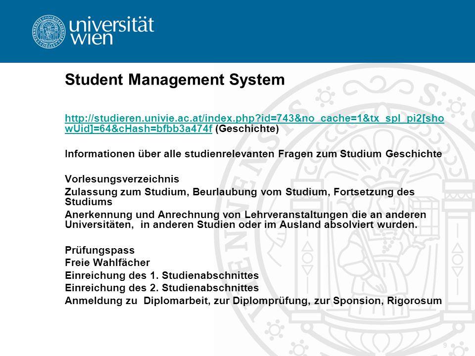 10 Anmeldesystem Geschichte Ab Sommersemester 2007 neu Priorisierung der Lehrveranstaltungen nach 1., 2., 3.