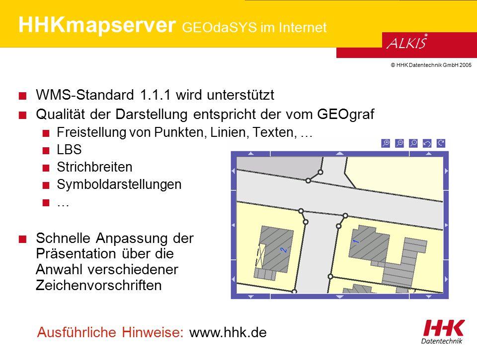 © HHK Datentechnik GmbH 2005 ALKIS ® HHKmapserver GEOdaSYS im Internet WMS-Standard 1.1.1 wird unterstützt Qualität der Darstellung entspricht der vom