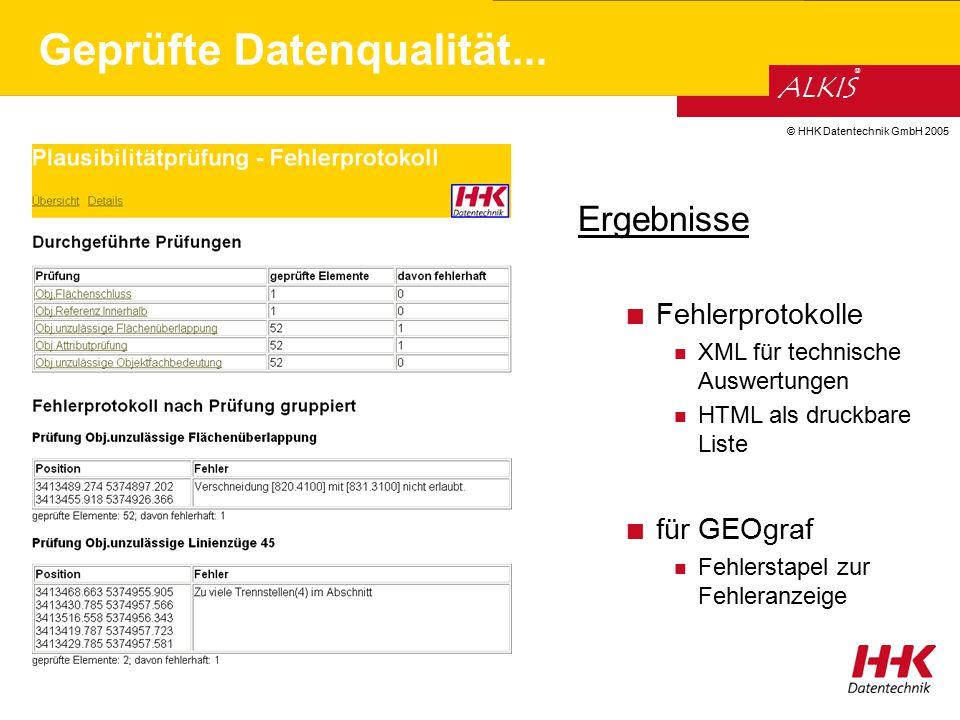 © HHK Datentechnik GmbH 2005 ALKIS ® Ergebnisse Fehlerprotokolle XML für technische Auswertungen HTML als druckbare Liste für GEOgraf Fehlerstapel zur