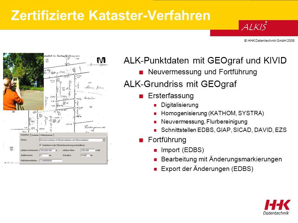 © HHK Datentechnik GmbH 2005 ALKIS ® Zertifizierte Kataster-Verfahren ALK-Punktdaten mit GEOgraf und KIVID Neuvermessung und Fortführung ALK-Grundriss