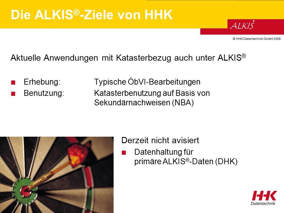 © HHK Datentechnik GmbH 2005 ALKIS ® Die ALKIS ® -Ziele von HHK Aktuelle Anwendungen mit Katasterbezug auch unter ALKIS ® Erhebung: Typische ÖbVI-Bear