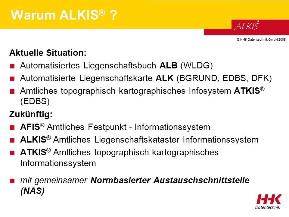 © HHK Datentechnik GmbH 2005 ALKIS ® Aktuelle Situation: Automatisiertes Liegenschaftsbuch ALB (WLDG) Automatisierte Liegenschaftskarte ALK (BGRUND, E