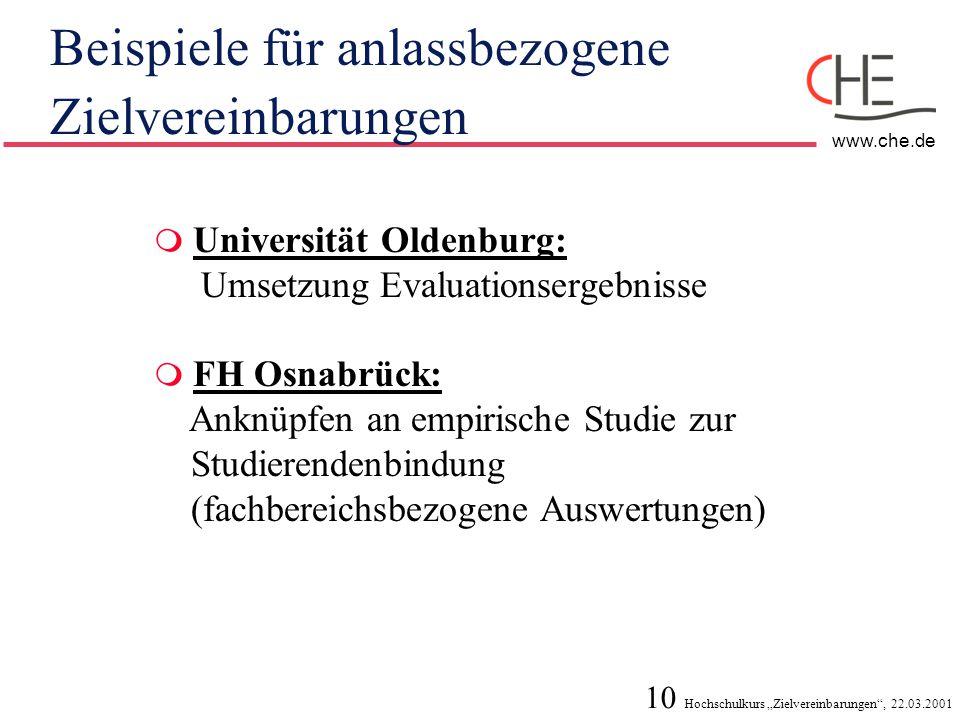 """10 Hochschulkurs """"Zielvereinbarungen"""", 22.03.2001 www.che.de Beispiele für anlassbezogene Zielvereinbarungen  Universität Oldenburg: Umsetzung Evalua"""