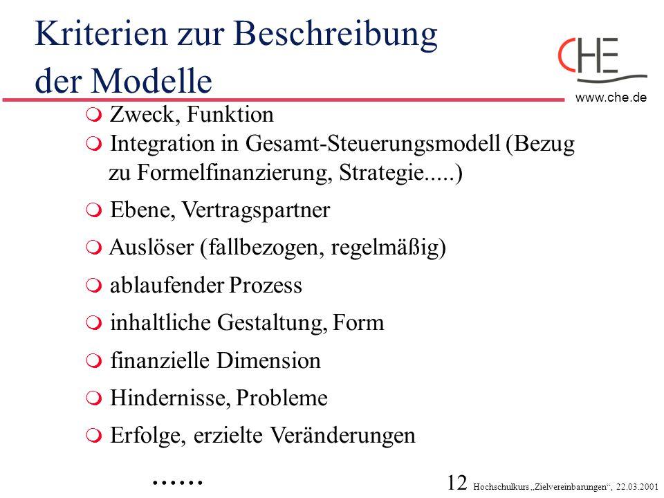 """12 Hochschulkurs """"Zielvereinbarungen"""", 22.03.2001 www.che.de Kriterien zur Beschreibung der Modelle  Zweck, Funktion  Integration in Gesamt-Steuerun"""