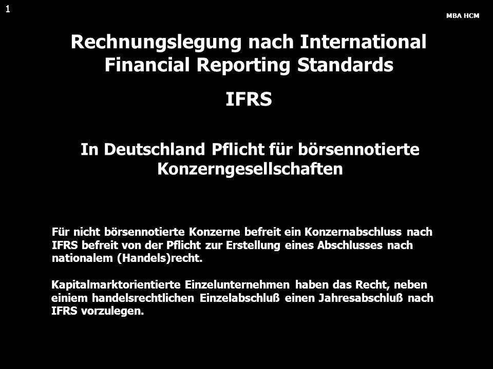 MBA HCM 1 Rechnungslegung nach International Financial Reporting Standards IFRS In Deutschland Pflicht für börsennotierte Konzerngesellschaften Für ni