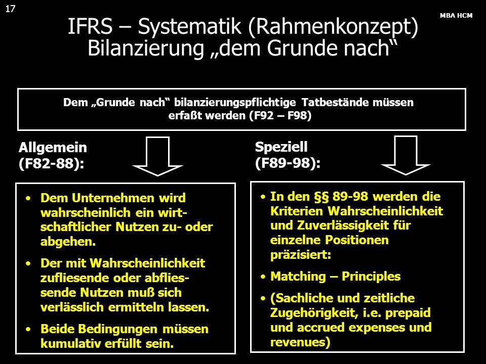 """MBA HCM 17 IFRS – Systematik (Rahmenkonzept) Bilanzierung """"dem Grunde nach"""" Dem """"Grunde nach"""" bilanzierungspflichtige Tatbestände müssen erfaßt werden"""